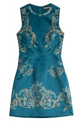 Roberto Cavalli Printed Satin Dress Turquoise