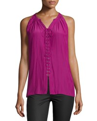 Ramy Brook Patricia Sleeveless Lace Up Top Purple