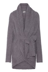Skin Belted Alpaca Blend Boucle Wrap Cardigan Gray