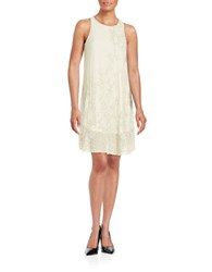 Badgley Mischka Bead And Sequin Trapeze Dress Ivory