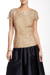 Adrianna Papell Cap Sleeve Beaded Mesh Blouse Metallic