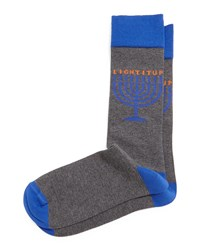 Jonathan Adler Light It Up Hanukkah Printed Socks Gray Grey