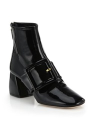 Miu Miu Patent Leather Buckled Booties Black