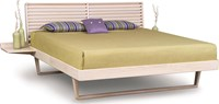 Copeland Furniture Contour Bed With With Left And Right Shelf Nightstands