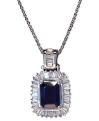 Effy Collection Gemma By Effy Sapphire 1 1 2 Ct. T.W. And Diamond 1 2 Ct. T.W. Emerald Cut Pendant In 14K White Gold