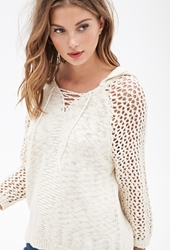 Forever 21 Hooded Open Knit Sweater Cream
