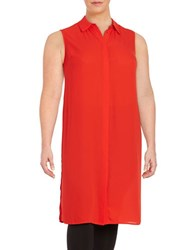Vince Camuto Plus Crepe Button Front Tunic Red