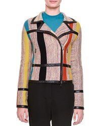 Bottega Veneta Leather Trimmed Striped Inset Jacket Multi Colors Women's