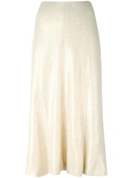 Chanel Vintage Sequined Detail Midi Skirt Nude Neutrals
