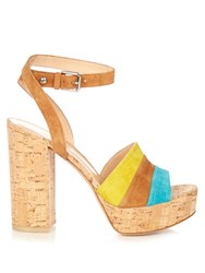Gianvito Rossi Block Heel Cork Sandals Multi