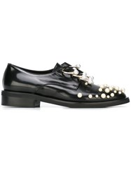 Coliac 'Martina' Pearl Embellished Derby Shoes Black