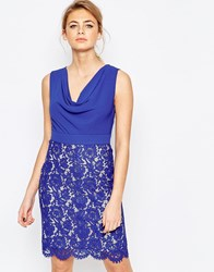 Oasis Cowl Neck Pencil Dress With Lace Skirt Blue