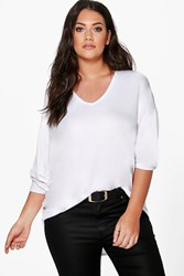 Boohoo Desiree V Neck Oversized Tee White
