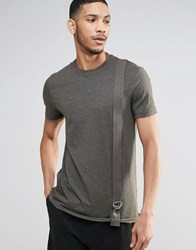 Asos Longline T Shirt With Military Taping In Khaki Green
