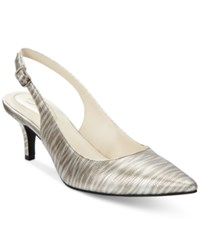 Alfani Women's Babbsy Pointed Toe Slingback Pumps Only At Macy's Women's Shoes Pewter