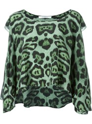 Givenchy Ruffled Leopard Print Top Green