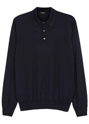 Corneliani Navy Cashmere And Silk Blend Jumper