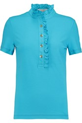 Tory Burch Lidia Ruffle Trimmed Pique Polo Shirt Blue