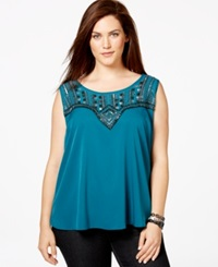 Jessica Simpson Plus Size Beaded Layered Back Top