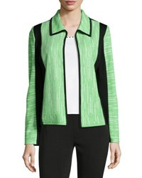 Ming Wang Colorblock Knit Jacket Black Green