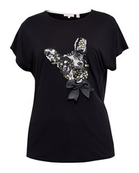 Ted Baker Elsetta Embellished Cotton Dog T Shirt Black