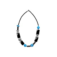 Scenery Label Bead Necklace Oblong Blue