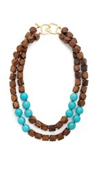 Kenneth Jay Lane Two Row Wood Bead Necklace Dark Wood Turquoise