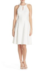 Women's London Times Embellished Floral Jacquard Fit And Flare Dress White