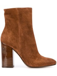 Gianvito Rossi Chunky Heel Ankle Boots Brown