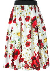 Dolce And Gabbana Daisy And Poppy Print Skirt White