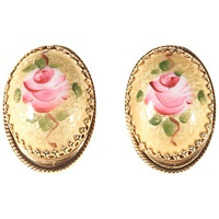 Alice Joseph Vintage 1950S Whiting And Davis Rose Clip On Earrings Pink Yellow