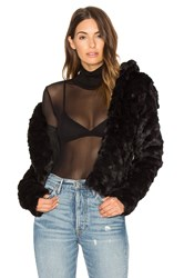 David Lerner Katie Faux Fur Shawl Collar Jacket Black