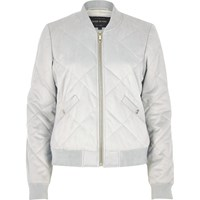 River Island Womens Light Grey Quilted Faux Suede Bomber Jacket