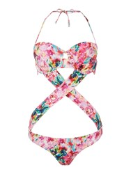 Lipsy Floral Cross Over Mono Swimsuit Pink