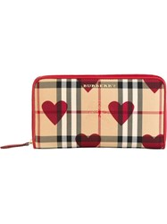 Burberry Horseferry Check And Hearts Wallet Red