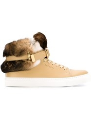 Buscemi Rabbit Fur Detail Hi Top Sneakers Nude And Neutrals