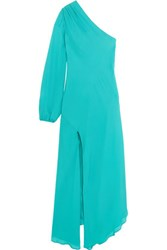 Michelle Mason Asymmetric One Shoulder Silk Georgette Midi Dress Turquoise