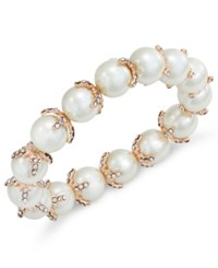 Charter Club Rose Gold Tone Imitation Pearl And Pave Stretch Bracelet Only At Macy's