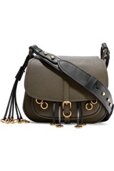 Prada Corsaire Embellished Leather Shoulder Bag Army Green