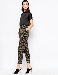 Monki Dark Floral Peg Leg Trouser Black