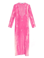 Juliet Dunn Embroidered Tie Dye Silk Kaftan