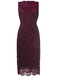 Dolce And Gabbana Floral Lace Fitted Dress Pink Purple