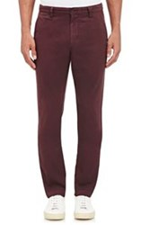 Barneys New York Brushed Twill Chinos Red