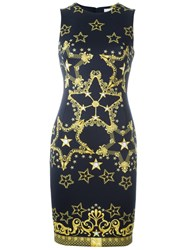 Versace Collection Star Print Fitted Dress Blue