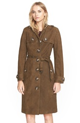 Burberry 'Dellsbridge' Long Single Breasted Suede Trench Coat Mink Grey