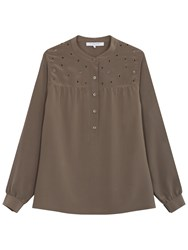 Gerard Darel Sparkle Silk Blouse Dark Green