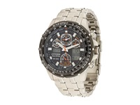 Citizen Jy0000 53E Eco Drive Skyhawk A T Watch Silver Band Silver Case Black Dial Watches