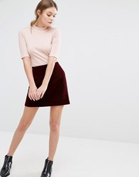 New Look Quilted Velvet A Line Mini Skirt Burgundy Red