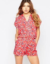 Liquorish Wrap Front Playsuit In Mini Flower Print Pink
