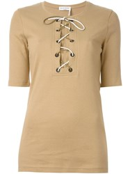 Sonia Rykiel Lace Up Short Sleeve Blouse Nude And Neutrals